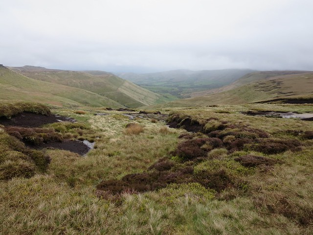 View down into Edale valley from beneath Edale Rocks, Kinder Scout, Peak District