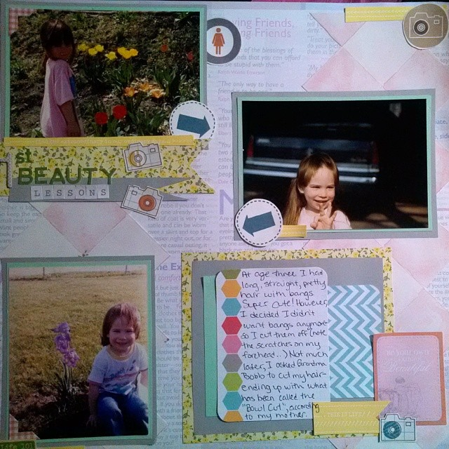 LOAD514 - Day 15 - 1st Beauty Lessons scrapbooking layout