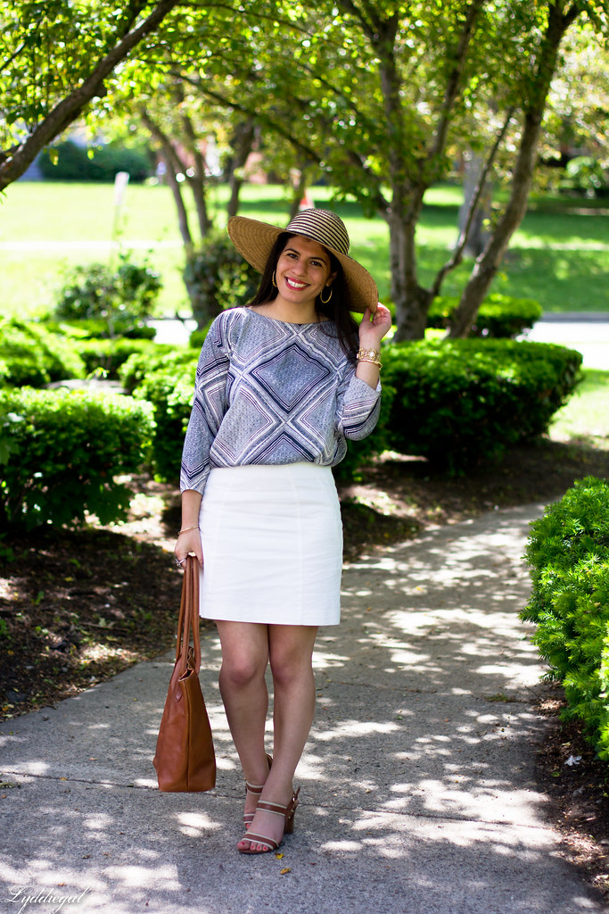 white pencil skirt, printed blouse, floppy hat-1.jpg