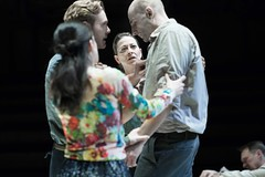 Luke Norris (Rodolpho), Phoebe Fox (Catherine), Nicola Walker (Beatrice), Mark Strong (Eddie). Photo by Jan Versweyveld.