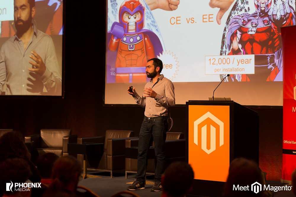 Tim on stage during Meet Magento 2014 DE