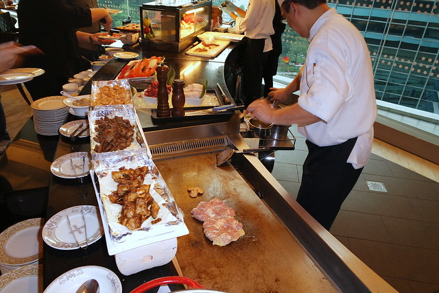 Teppanyaki prawns, chicken and beef made on demand