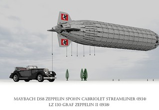 Graf Zeppelin II Airship (1937) and Maybach DS8 Zeppelin Cabriolet Spohn Streamliner (1934)