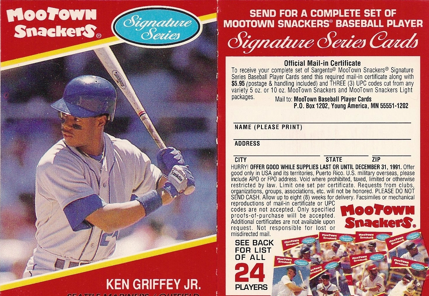 1991 Mootown Snackers with Tab (Griffey)