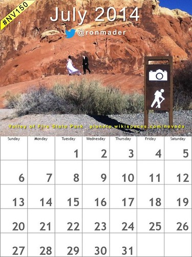 July 2014 Calendar, Valley of Fire State Park, Nevada #nv150