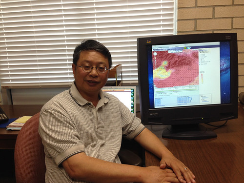 Shyh-Chin Chen is a research meteorologist for the Pacific Southwest Research Station in California. Having experienced wildland fire literally on his home's doorstep at least several times during the last decade, he has a passion for developing new weather forecasting tools to help firefighters predict and combat fires more effectively. Here he is shown with the Firebuster web tool.  (U.S. Forest Service)