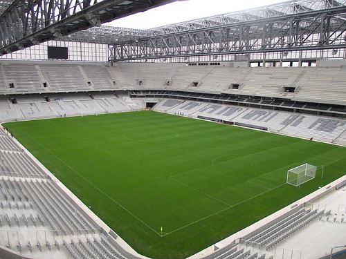 University of Georgia-licensed TifGrand turfgrass is installed in Arena da Baixada in Curitiba, Brazil, one of three World Cup stadiums to use the turf this year. TifGrand was bred by UGA/USDA-ARS plant breeder Wayne Hanna and UGA entomologist Kris Braman. Photo Credit: University of Georgia