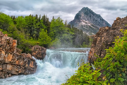 montana stormy waterfalls glaciernationalpark manyglacier swiftcurrentcreek swiftcurrentfalls mtgrinnell