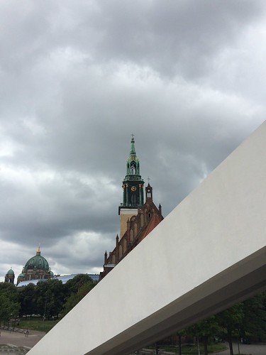 European Instagram meetup #EverchangingBerlin_Fernsehturm TV tower architecture and St Mary's Church