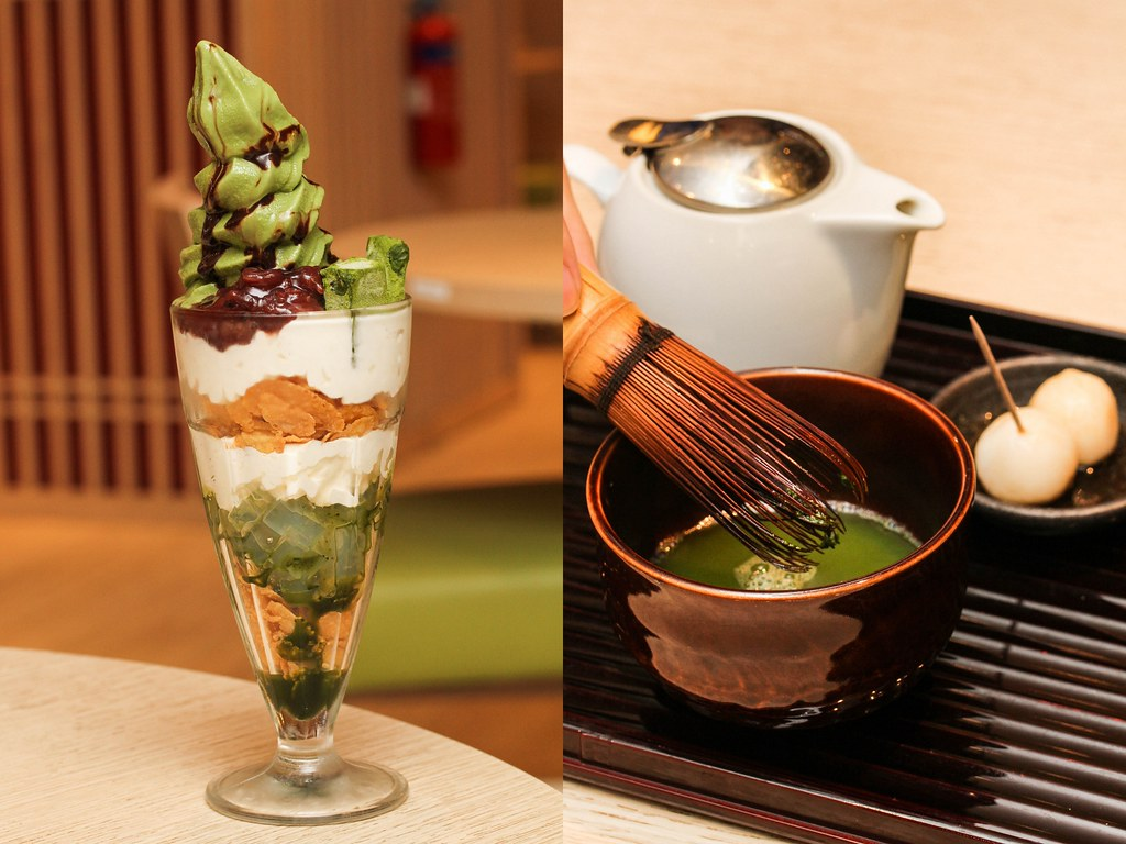 Maccha House's Maccha chocolate parfait & Traditional maccha green tea