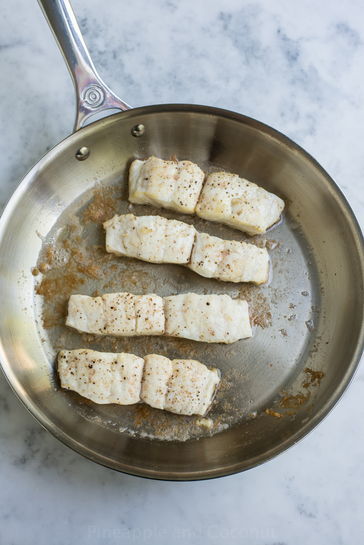 Halibut with Pineapple Soy Ginger Sauce www.PineappleandCoconut.com #ColorfulStainless #LeCreuset
