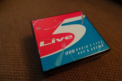 BBC Radio 5 Live target tuner. I assume that this dates from some time around the rebranding of the station in 1994 from the original Radio 5. A sticker on the reverse certainly says that the logo is copyright 1994. Despite some old leaky batteries within