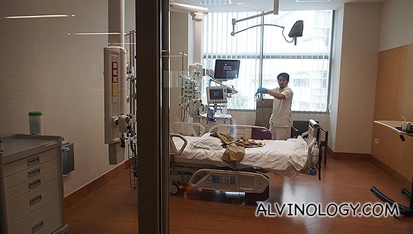 Inside an ICU room