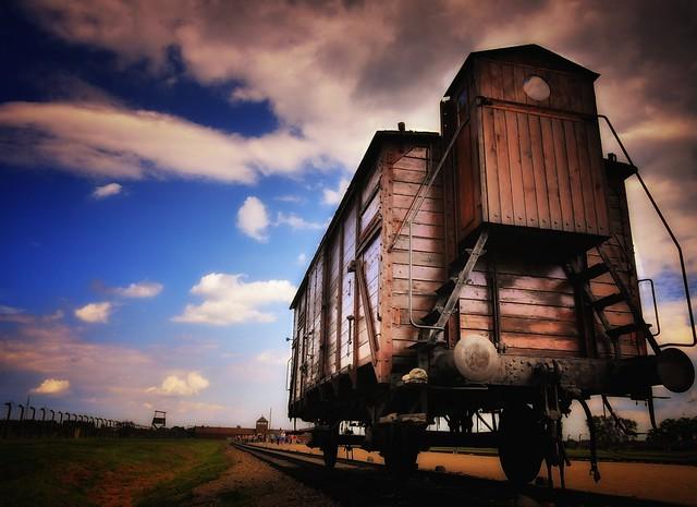 Last boxcar to Auschwitz Birkenau.  Oswiecim, Krakow, Poland