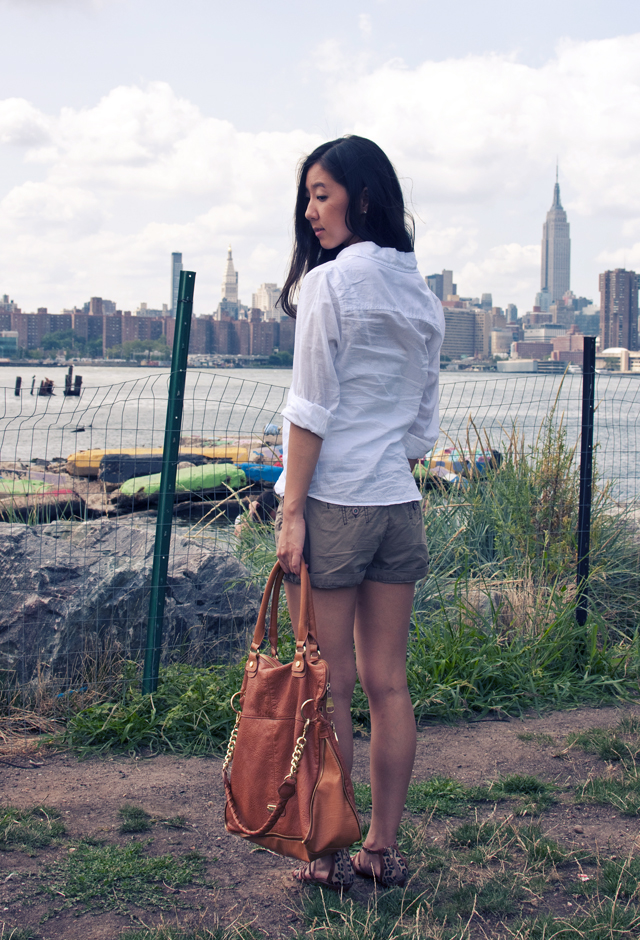 fashion, summer fashion, sandals, brooklyn, personal style, outfit of the day, ootd, casual outfit, steve madden, guess sandals, white button down