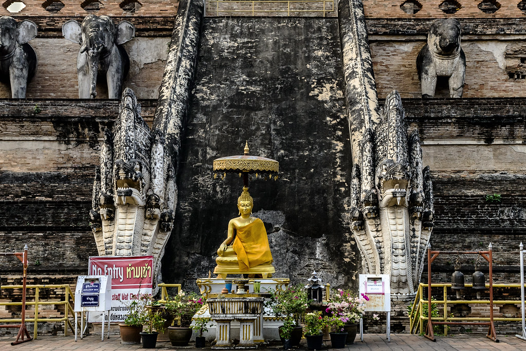The Small Golden Buddha and the Grand Staircase at Wat Chedi Luang