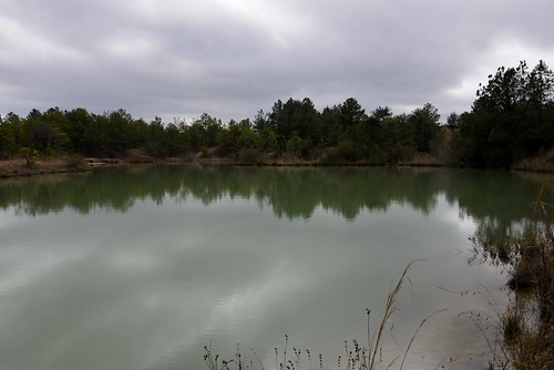 Containment pond on a dreary day