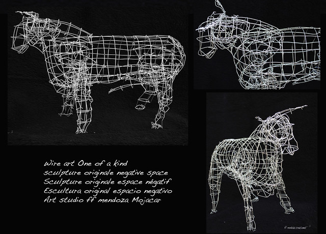 Arte de alambre /esculturas /negative espacio Toro n 1