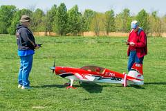 Pre-flighting a RC airplane.
