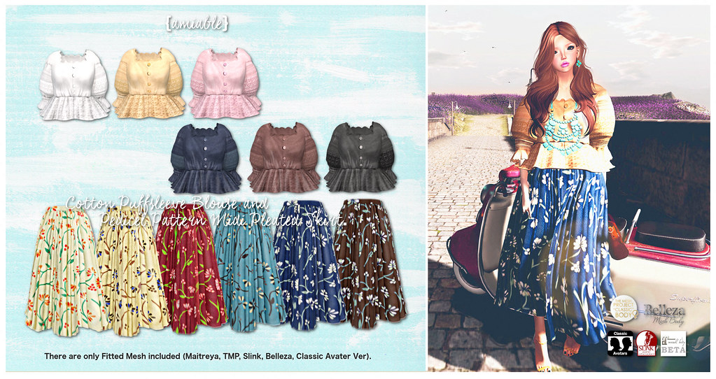 {amiable}Cotton Puffsleeve Blouse and Pedicel Pattern Midi Pleated Skirt@the Shiny Shabby. - SecondLifeHub.com
