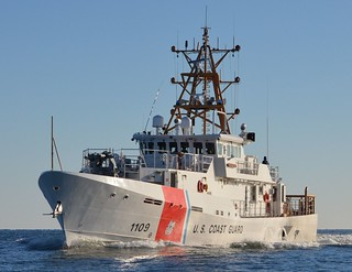 Coast Guard Cutter Kathleen Moore makes way during sea trials in the Gulf of Mexico Feb. 27, 2014. Kathleen Moore was a lighthouse keeper who saved 21 lives during the span of her career.