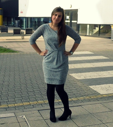 Chloe Likes To Talk James Lakeland grey printed dress & Clarks shoes