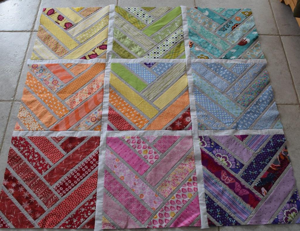 Broken Herringbone quilt sashed together