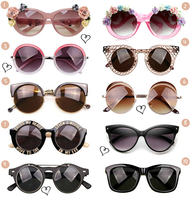 This week on Call me Maddie's Friday Ebay bargains- I have found many pairs of sunglasses- round, vintage, steampunk, leopard print, stick a needle in my eye, cross my heart hope to die, round oversized sunglasses with flowers. Cheap an qualitative sunglasses on Ebay. Fashion sunglasses found on Ebay. Saulesbrilles no Ebay.