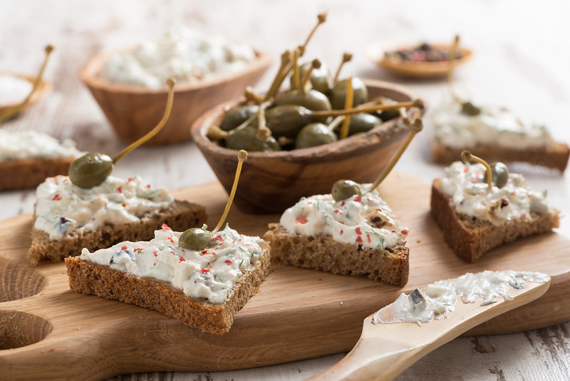 toasts with spicy cheese pate