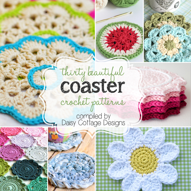 A collection of thirty crochet coaster patterns compiled by Daisy Cottage Designs. You'll be sure to find something to suit your fancy in this gorgeous collection. Whether you're a flower lover or you prefer simplicity, there is something here to suit your fancy.