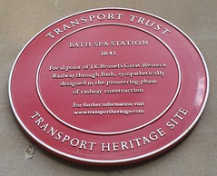 Photo of Isambard Kingdom Brunel and Bath Spa railway station red plaque