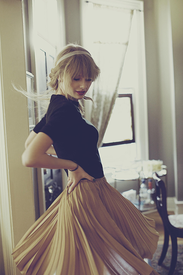 taylor swift celebrity style, somethingfashion outfit pleated skirt taylor yellow fashion, headband red lipstick taylor swift