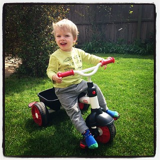 Finally enjoying a nice garden day on his #littletikes #review bike. Making the most of the last couple of days before pox descends; such a relief to have the happy version of this boy back.