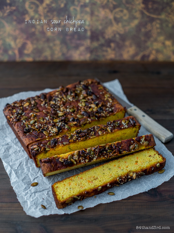 Indian Sour Chickpea Corn Bread & Cookbook Giveaway - win a signed copy of 'Tasty Express' by Sneh Roy!