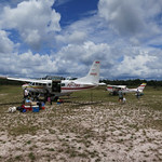 Loading up the planes at Rudi Kappel Airstrip on our way back to Paramaribo.