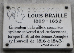 Photo of Louis Braille stone plaque