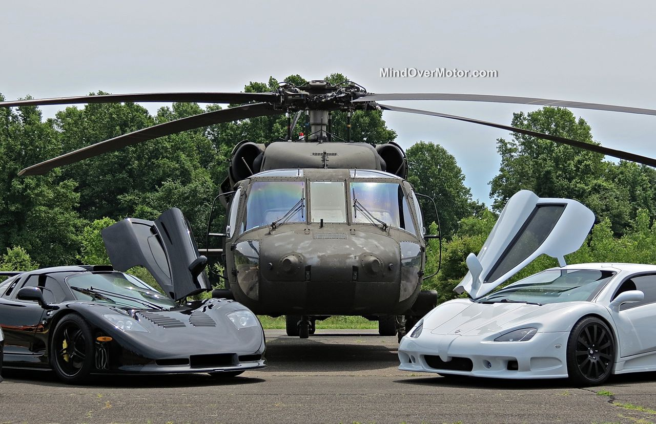 Black Hawk Helicopter, Mosler Raptor GTR, and SSC Ultimate Aero at CF Charities Supercar Show