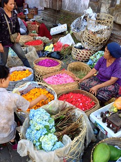 Selling flowers for festival