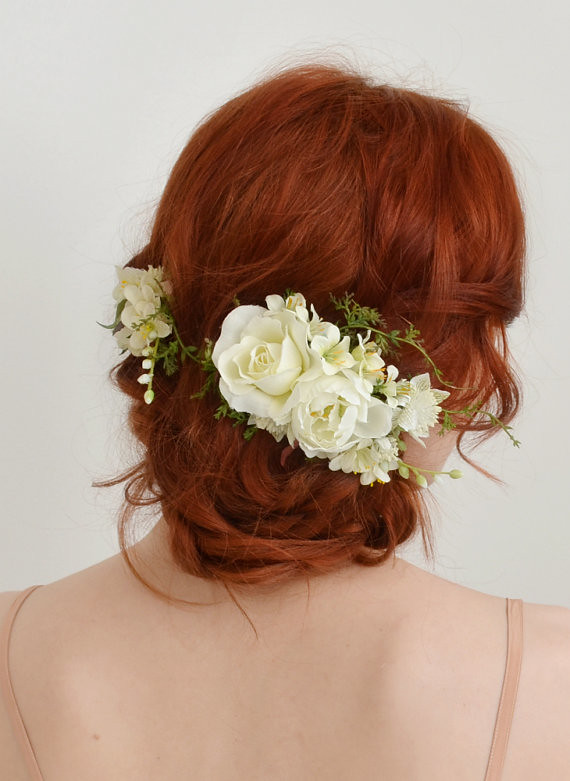 Bridal Hair Clips White Rose Headpiece Flower Clip Set Flickr