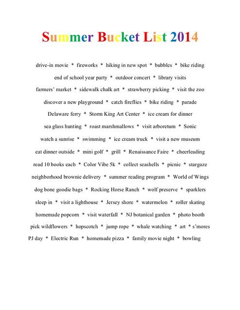 SummerBucketList2014