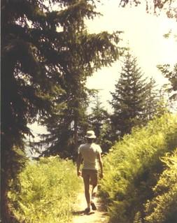 Anton walking a Swiss trail.