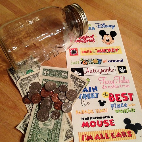 175:365 Mason Jar + old scrapbook stickers = new change jar for our Disney World trip.