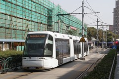 Rubber tired tram departs the terminus at Zhangjiang Hi-Tech Park Station