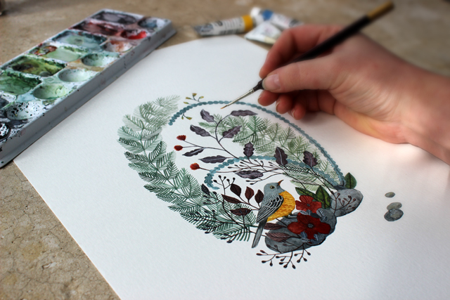 "Painting for my upcoming solo show ""Forest + Feather"""