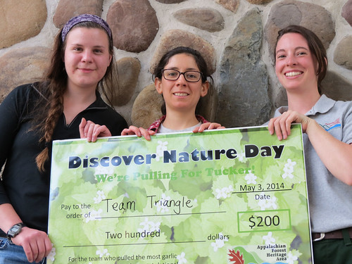 Team Fish are the winners of Garlic Mustard Challenge and received $200. The team includes, from left to right, Christine Holsinger, Delia Delgado, and Kate Nietling. (U.S. Forest Service)