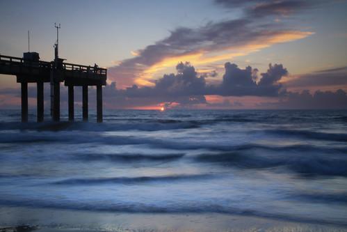 morning seascape beach silhouette night clouds sunrise pier waves florida cloudy atlanticocean staugustine