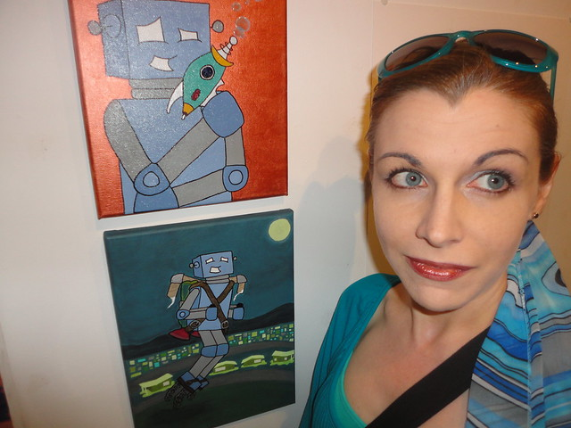 Katherine Miller and Boris, her Robot of Leisure at Hashtag Gallery 3 july 2014