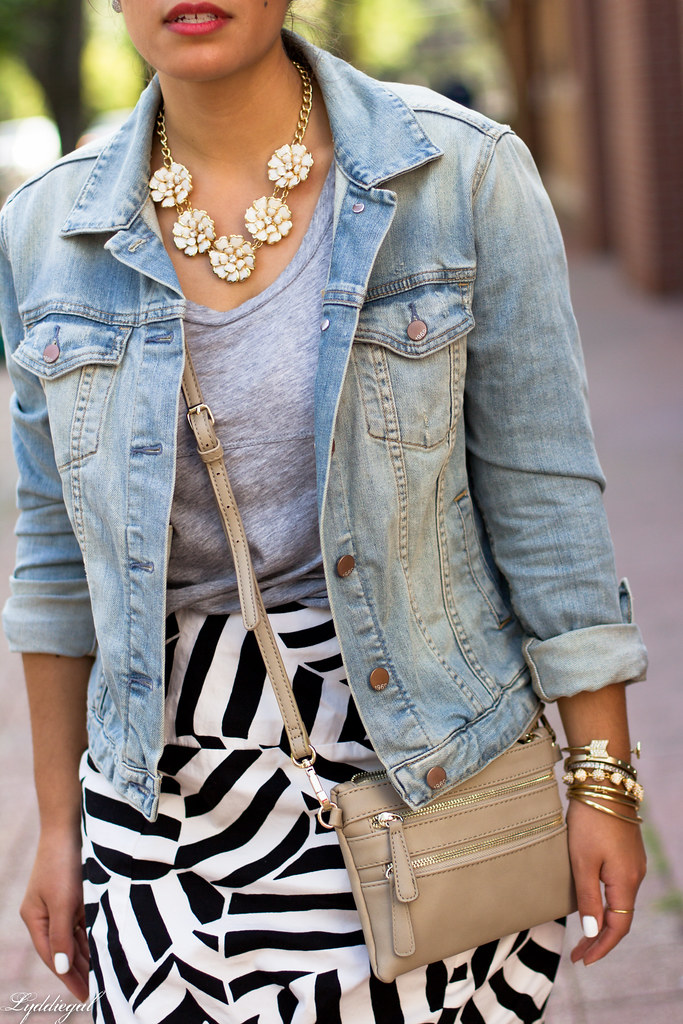 black and white skirt, grey tee, denim jacket-6.jpg