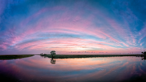 blue sky panorama orange usa cloud color reflection tree reed water weather sunrise river landscape dawn florida cloudy explore swamp marsh cocoa centralflorida rivergrass edrosack
