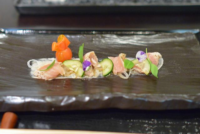 zakuri seared smoked albacore, tuna tonnato, ponzu